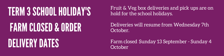 School Holiday Delivery Dates and Farm Closures